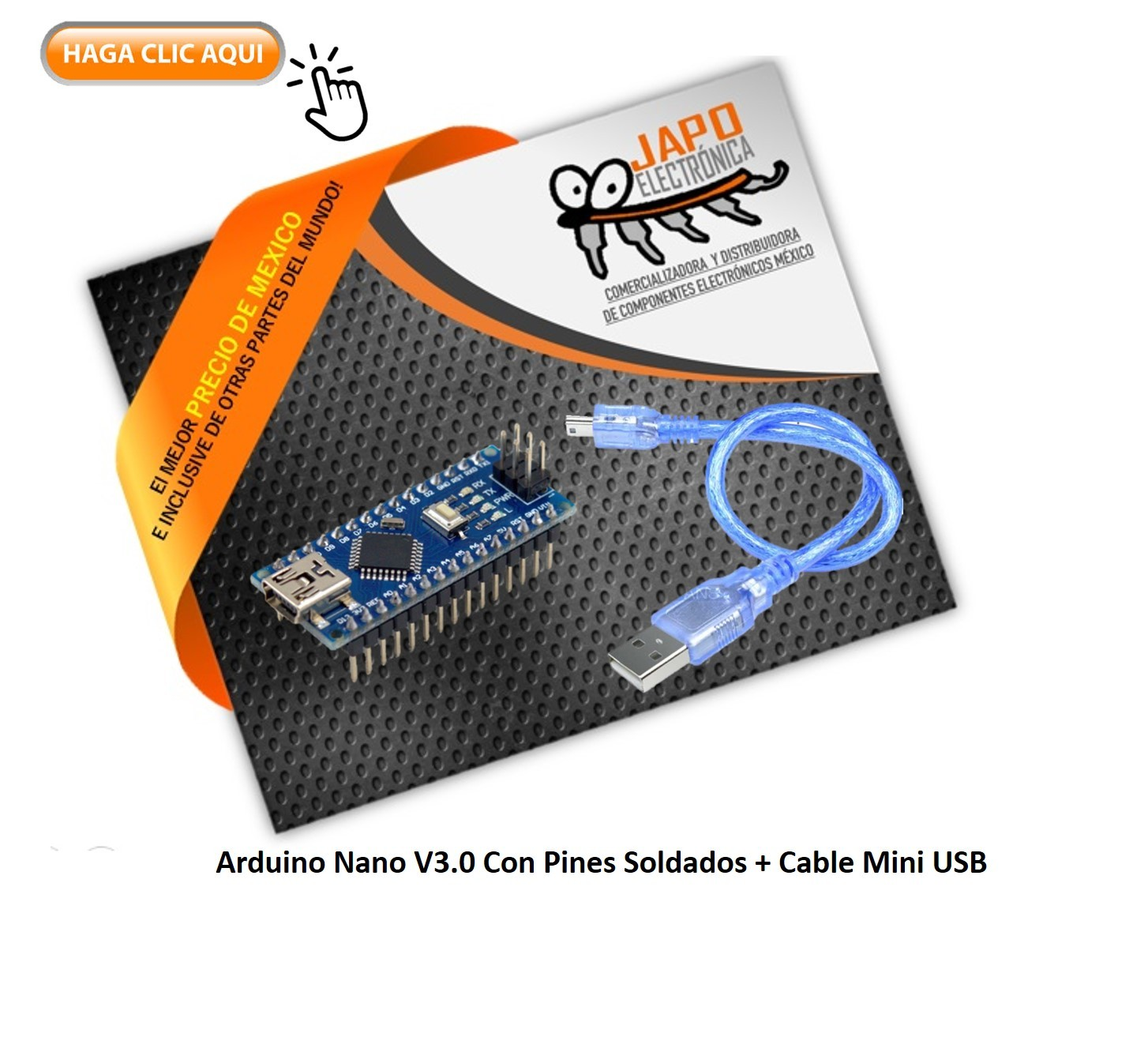 Arduino Nano V3.0 Con Pines soldados + Cable Mini USB